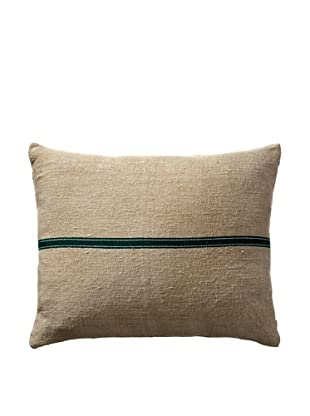 Vintage Hungarian Seed Bag Fabric Pillow, Kelly Green Stripe