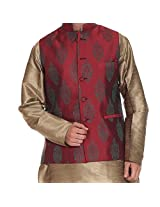 Tag 7 Men's Silk Blend Kurta Pyjama With Jacket Set (KP108_Goldenrod_40)