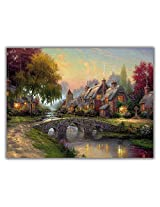 TIA Creation Village Scene Canvas 0200 Print on Cotton Canvas 31inch x 22inch