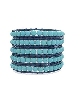Lucie & Jade Echtleder-Armband rek. Türkis blau/türkis