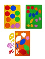 """Set of 3 Colorful """"PIGLOO"""" Brand Foam Paper Cut-Out Sheets for Art and Craft, Decoration and More"""