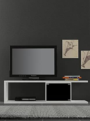 Decortie by Homemania Mobile Tv Vino (Blanco / Negro)