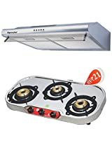 SignoraCare 600m3/hour suction Electric Chimney Super (CASSETTE FILTER) (+ 3 Stove Burner of worth Rs 3890/- @ Rs.21)