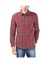 London Fog Men's Casual Shirt (8907174017624_Red Green_XX-Large)