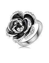 Black Rose Pattern platinum plated Austrian crystals ring (Nickle free) Jewelry For Girls Ladies By JewelQueen
