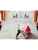 BALLENTINE 3D ROSE 100% PREMIUM COTTON SATIN KING SIZE BEDSHEET WITH PILLOW COVERS