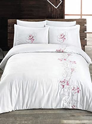 Welcome Home Completo Copripiumino Cotton Satin Rose (Bianco/Rosa)