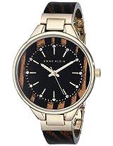 Anne Klein Women's AK/1408BKBN Swarovski Crystal-Accented Bangle Watch