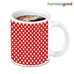 HomeSoGood Red And White Dot Pattern Coffee Mug