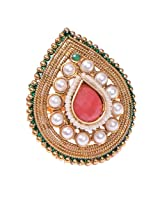 Ratnakar Royal Pearl and red stone Ring For Women