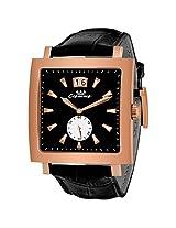Luxury Swiss Quartz Movement Rose Bezel Black Strap Mens Wrist Watch !