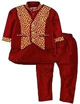 Kurta Pajama with Waistcoat - Red (0-6 Months)