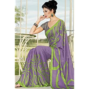 Deep Lilac Violet Crepe Silk Printed Casual and Party Saree