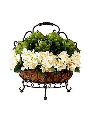 Creative Displays Hydrangea & Green Artichokes in Basket, Green/Cream