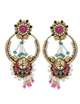 Hyderabadi Abhushan earrings with pink and green color pearl