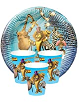 BALLOON JUNCTION MADAGASCAR THEME Birthday Party supplies disposable Tableware pack - Plates, Glasses
