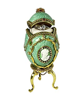 Kingspoint Designs Hand Painted Egg Musical Box Adorned with Crystals, Mint Green