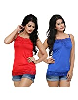 Alba Women's Camisole (Pack Of 2) (CC054RRB_Red / Royal Blue_Large)