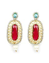 Multicolor Stone Gold Plated Dangle Earrings