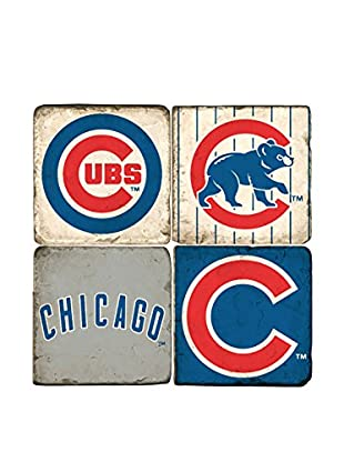 Studio Vertu Set of 4 Cubs Logoed Tumbled Marble Coasters with Stand