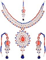 Lucky Jewellery Fabulous Red Blue Alloy Chain Fabulous Red Blue for Women (825-ISP-801-RED-B)