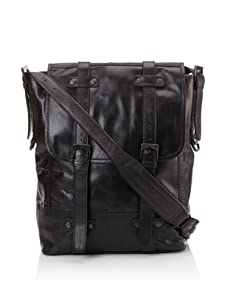 i.am Men's Leather Flap Satchel (Black)