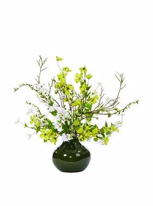 Lux-Art Silks Dogwood Vase (White/Green)