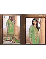 New Arrival Green With Half-Work Anarkali Suit