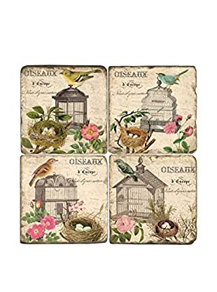 Studio Vertu Set of 4 Vintage Bird Cages Tumbled Marble Coasters with Stand