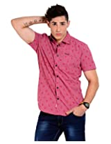 Sting Pink Solid Slim Fit Half Sleeve Cotton Casual Shirt -SG0011B158HL