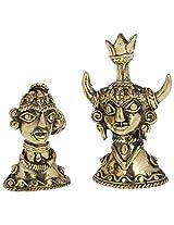 Adikala Brass Tribal Pair Face Statue (Golden)