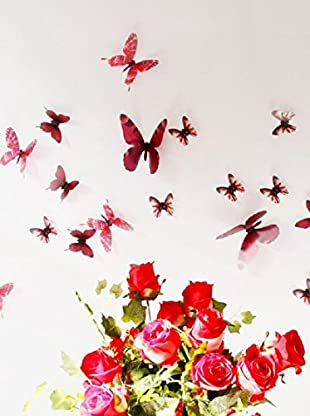 Ambiance Sticker Vinilo Decorativo 18 Piezas 3D Adhesive Butterflies Chic Translucid