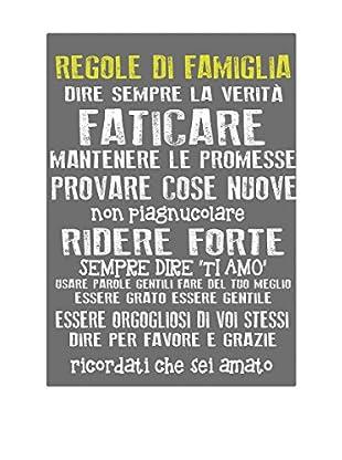 Panel Decorativo Family Rules Gris