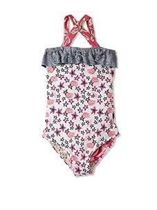 Maaji Girl's Sweet Pea Ruffle One-Piece Swimsuit (Sea Foam/Pink Multi)