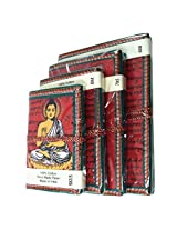 R S Jewels Handmade Paper Printed Buddha Red Color Diary 4 Pcs Set DRY-0221