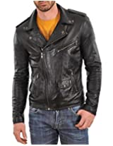 Iftekhar Men's Pure leather Jacket - Black - (Iftekhar25 - L)