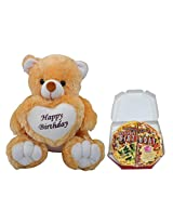 Happy Birthday Teddy With Pizza Greeting Card
