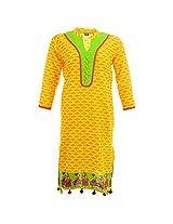 Handicraft Kottage Women Cotton Regular Fit Kurta (Hk204-Yellowxxl _Yellow _Xx-Large)