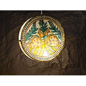 Moya Peacock & Foliage - Hanging Circular Lamp