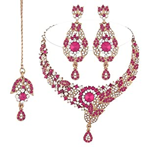I Jewels Traditional Gold Plated Bridal Jewellery Set with Maang Tikka For Women (Rani)(M4036Q)