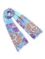 Dahlia Women's 100% Merino Wool Pashmina Scarf - Aztec Sun Stone Print - Blue