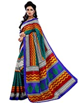 Vibes Women's Champa Bhagalpuri Saree with Blouse ( S30-5646_Multi-Coloured)