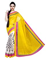 ISHIN Bhagalpuri Silk Yellow & Off White Printed Saree