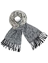 Dahlia Women's Scarf Shawl - Gradient Color Motif - Gray