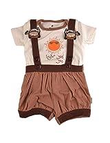Bio Kid Casual T Shirt & Dungaree Set - Off White Top & Wood Smoke Shorts - 1 Set Pack (6 - 9 Months)