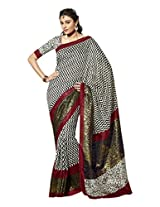 Brijraj Black White Blue Bhagalpuri Silk Beautiful Printed Saree With Unstitch Blouse