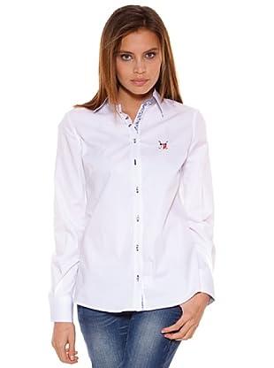 Polo Club Camisa Manga Larga Señora Entallada Lisa (Blanco)