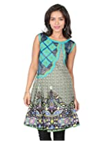18 FIRE Cotton and Brocade Printed Kurti with Box Pleats and Aplic work