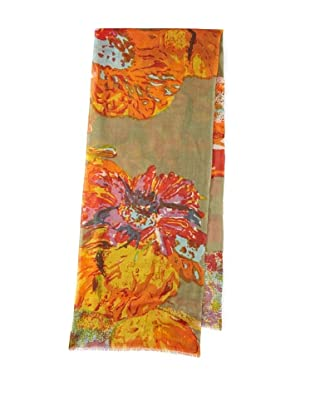 Saachi Women's Abstract Flower Scarf (Yellow Olive)