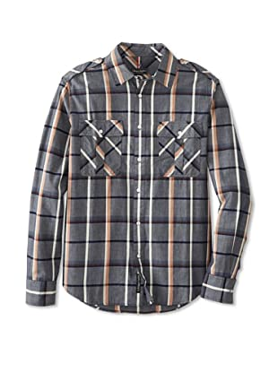Denim & Leathers by Andrew Marc Men's Gibson Plaid Shirt (Ink)